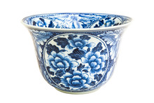 Old Chinese Flowers Pattern Style Painting On The Ceramic Bowl Isolated On White