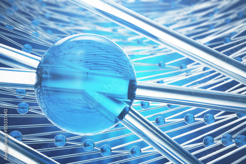 Fotografía  3D rendering abstract molecules design