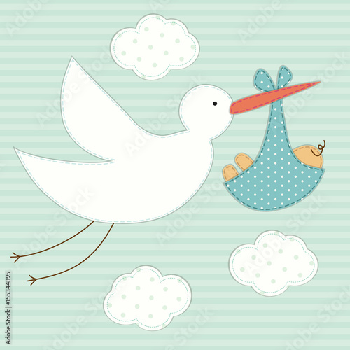 Cute Baby Shower Card As Retro Fabric Patch Applique Of Stork And