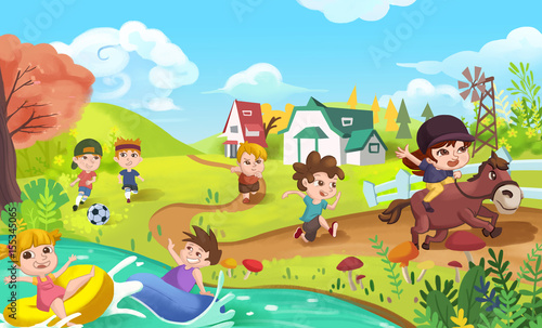 Papiers peints Chateau Children are doing Sports like Playing Football, Swimming, Running and Horse Riding. Video Game's Digital CG Artwork, Concept Illustration, Realistic Cartoon Style Background