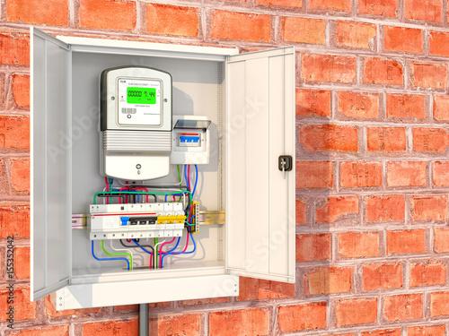 Fotografie, Obraz  Electric meter with circuit breakers in a metal box