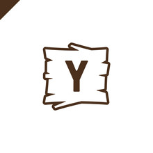 Wooden Alphabet Blocks With Letter Y In Wood Texture Area With Outline.