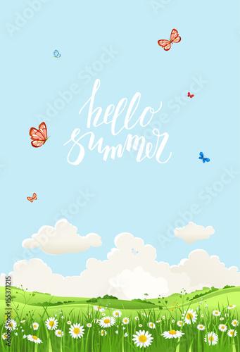 Foto op Canvas Lichtblauw banner hello summer