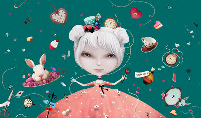 Fabulous bright background with fantasy elements for wall or poster or illustration Wonderland
