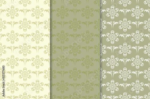 Fototapeta Olive green floral seamless background. Collection of fabric prints obraz na płótnie
