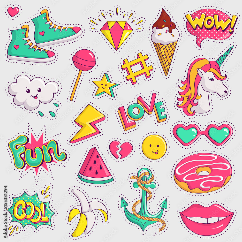 graphic relating to Printable Patches identify Picture Artwork Print Lovable and stylish patches. Vector stickers