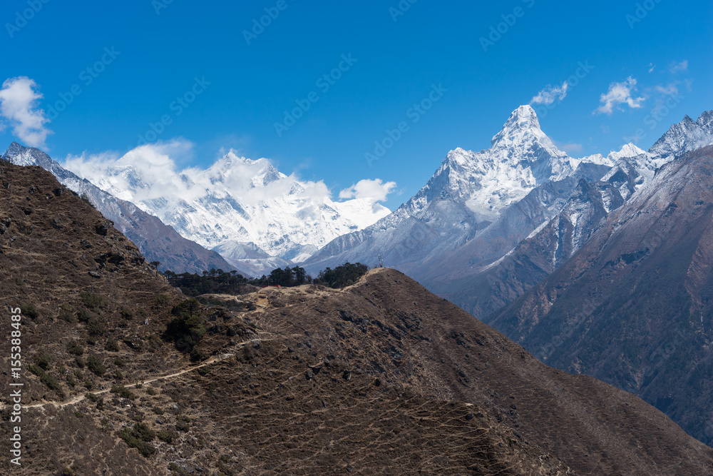 Photo & Art Print Himalaya mountains landscape from Namche Bazaar