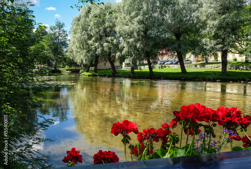 FISKARS, FINLAND - July 22, 2016:Scenic landscape with idyllic village at bright summer day