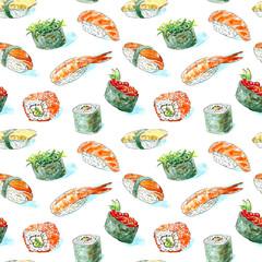 FototapetaSeamless pattern of a gunkan, sushi and roll. Japanese cuisine.Shrimp, salmon,omelette, red caviar and chuka.Watercolor hand drawn illustration.White background.