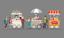 Creative Detailed Vector Street Coffee Cart, Popcorn And Hotdog Shop With Sellers