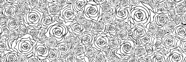 Panel Szklany PodświetlaneRose background. Seamless pattern.Vector. 薔薇のパターン