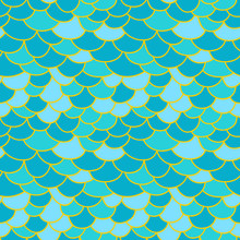 Fish Scale Background. Abstract Seamless Geometric Texture Blue Background