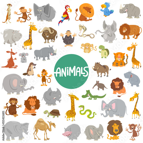 Photo  cartoon animal characters big set
