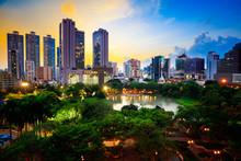 Benchasiri Park At Twilight, Bangkok Thailand