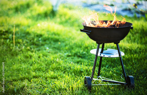 Fotobehang Grill / Barbecue Barbecue grill with fire