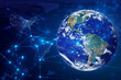 global world and social network ai data information technology, signal of satellite, wifi internet of things, Element of this image furnished by NASA