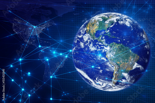 Photo Stands Nasa global world and social network ai data information technology, signal of satellite, wifi internet of things, Element of this image furnished by NASA
