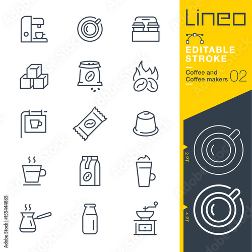 Fotografie, Tablou  Lineo Editable Stroke - Coffee line icons Vector Icons - Adjust stroke weight -
