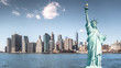 The statue of Liberty, Landmarks of New York City with Manhattan building background