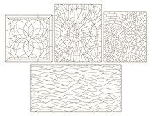 Set Contour Geometric Illustration In Stained Glass Style