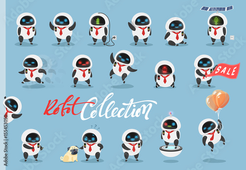 Set character robot android. Characters cartoon in flat style with different tasks, gestures. On the faces of emotions, joy, laughter, surprise, anger. Objects isolated against a blue background.