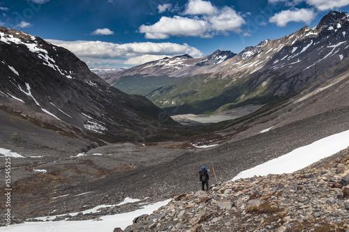 Podejście pod przełęcz John Gardner, Torres del Paine, Chile, Patagonia Canvas Print