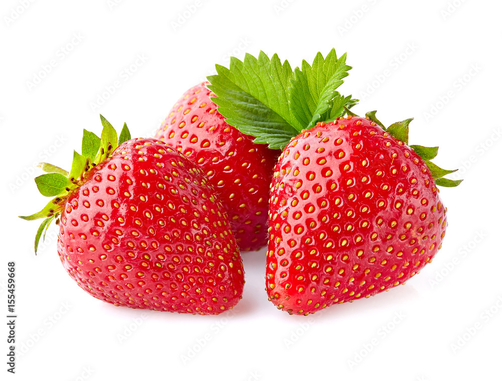 Fototapety, obrazy: Strawberry with leaves