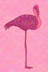 Panel Szklany Orientalny Pink decorative flamingo.