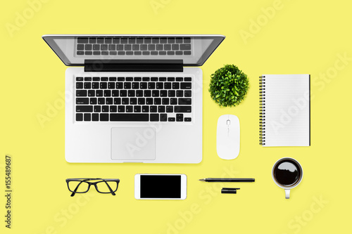 Bon Neat Yellow Hipster Desk Table With Computer Gadgets And Office Supplies.  Top View, Flat