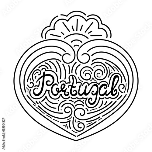 Portugal hand drawn typography black white illustration isolated