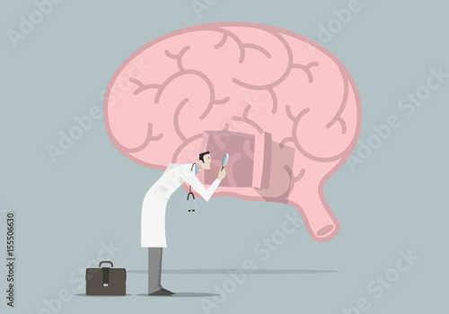 Brain Diseases Research Concept: Doctor with magnifying glass looking inside a brain Canvas Print
