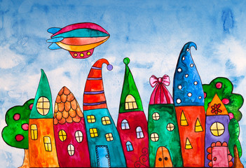 Fantasy bright sweet houses in a whimsical childlike style. Cartoon houses. Cute houses and trees and dirigible. Zeppelin airship dirigible balloon flight.
