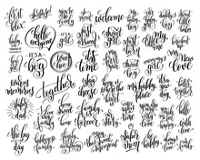 Set Of 50 Hand Written Lettering About Family And Baby Born