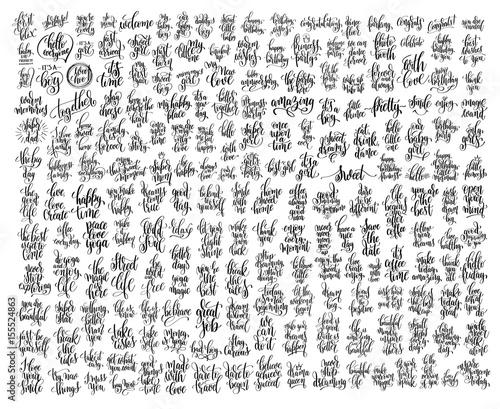 mega set of 200 black and white hand lettering Fototapete