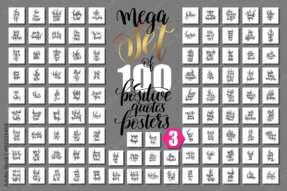 Fototapety, obrazy: mega set of 100 positive quotes posters, motivational and inspir