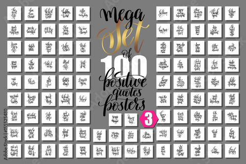 mega set of 100 positive quotes posters, motivational and inspir Canvas-taulu