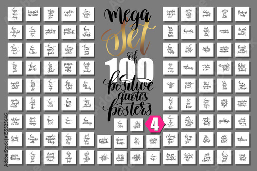 Foto op Plexiglas Positive Typography set of 100 positive quotes posters about love and life