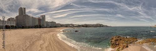 Panoramic view of Riazor beach in La Coruna, Spain