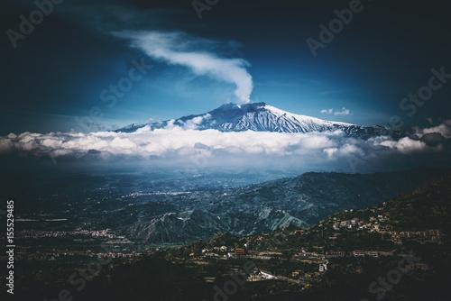 Zdjęcie XXL Wulkan Etna, widok z Taorminy na Sycylii