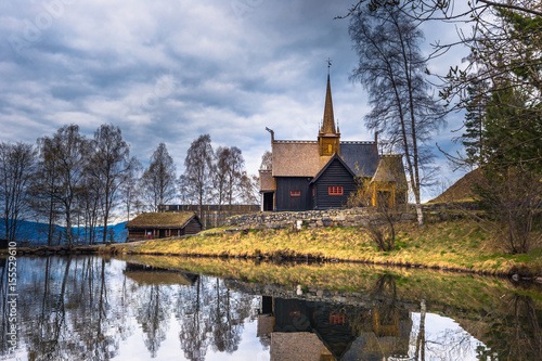 Spoed Foto op Canvas Grijze traf. Lillehammer, Norway - May 13, 2017: Garmo Stave Church in Lillehammer, Norway