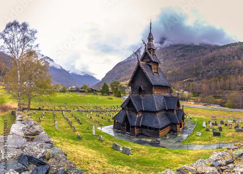 Foto op Aluminium Scandinavië Borgund, Norway - May 14, 2017: The Stave Church of Borgund in Laerdal, Norway