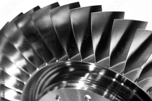 Foto Steel blades of turbine propeller. Close-up view. In B/W