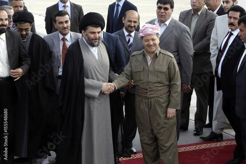 Iraqi Kurdish regional President Masoud Barzani welcomes Iraqi Shi