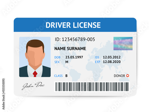 Fotomural Flat man driver license plastic card template, id card vector illustration