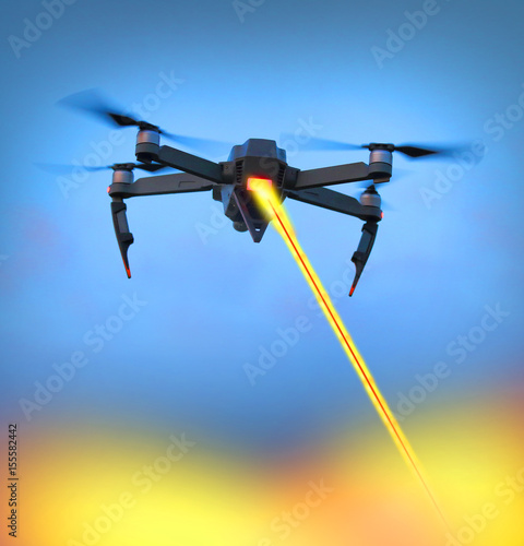 A black military drone with laser gun firing to target on a ground. New technologies for soldiers and terrorists. Four industrial revolution in war.