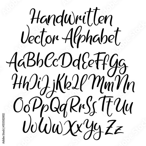 Modern calligraphy style  alphabet  Handwritten font  Uppercase and