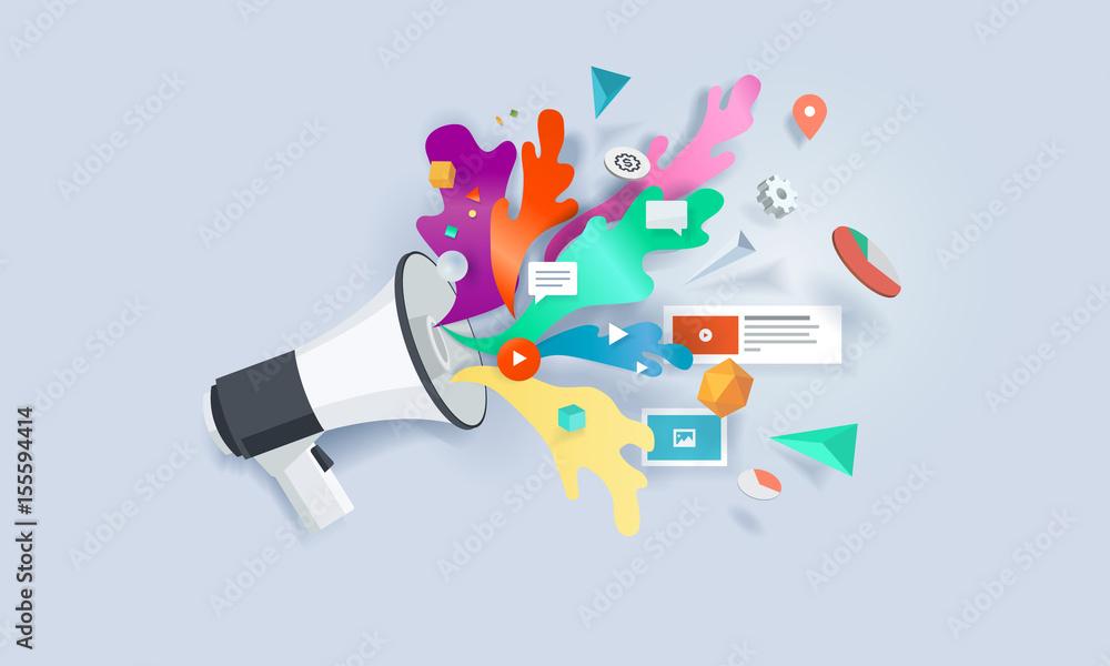 Fototapety, obrazy: Creative concept banner. Vector illustration for internet marketing, social media, SEO, advertising, e-commerce, apps.