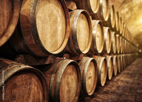 Photo Wine barrels in wine-vaults in order