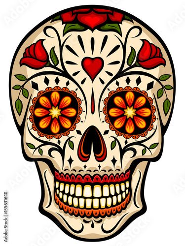 Vector illustration of an ornately decorated Day of the Dead sugar skull, or calavera Wallpaper Mural