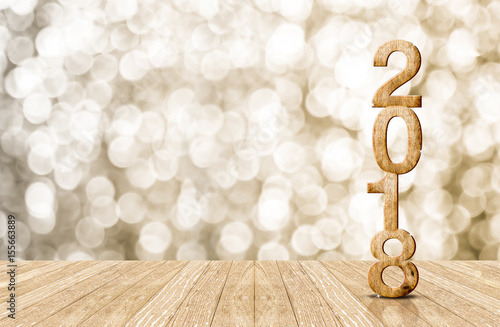 2016 year wood number in perspective room with sparkling bokeh wall and wooden p Poster